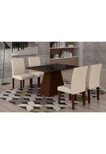 Conjunto De Mesa De Jantar Luna Com 4 Cadeiras Ane Ii Veludo Castor, Preto E Creme