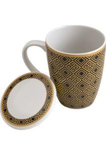 Caneca De Porcelana Super White Com Tampa E Filtro Egypt Preto E Dourado 310Ml Lyor