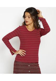 Blusa Canelada Listrada- Vermelha & Brancaangel
