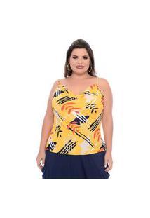 Blusa Formas Plus Size Domenica Solazzo Blusas Amarelo