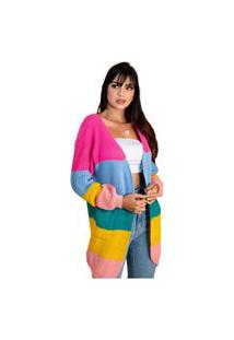 Cardigan Feminino Kimono Moda Blogueira Listrado Para Frio