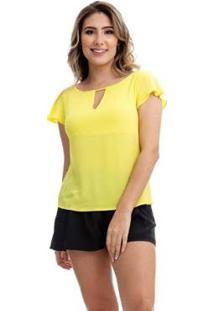 Blusa Clara Arruda Decote Triangulo 20356 - Feminino-Amarelo