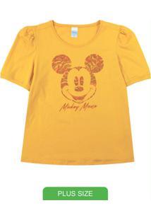 Blusa Estampada Com Manga Curta Bufante Amarelo