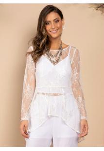Blusa Branca Com Rendado Off White E Mullet