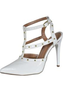 Scarpin Factor Fashion Spikes Salto Alto - Branco
