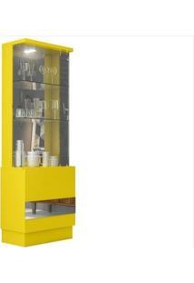 Cristaleira Vina Com 01 Porta Espelhada Amarelo - Dj Móveis