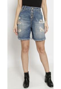Bermuda Jeans Estonada Com Bolsos - Azul - Zincozinco
