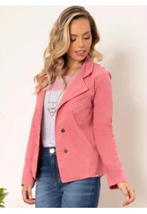 Blazer Jeans Rosê Com Bolso Decorativo