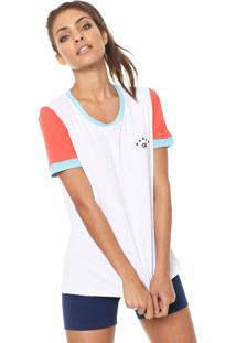 Camiseta Alto Giro Skin Fit Silk 10 Branca/Laranja