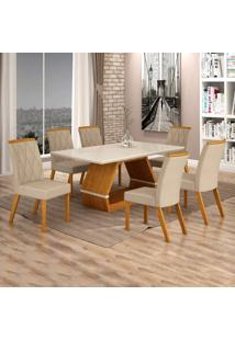 Conjunto Sala De Jantar Mesa Tampo De Vidro Off White 6 Cadeiras Esmeralda Leifer Imbuia Mel/Off White/Palha