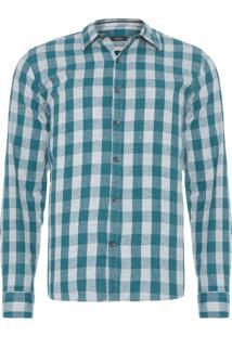 Camisa Masculina Manga Longa Slim - Verde
