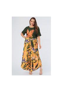 Pantacourt Estampada Canelada Trópicos Plus Size Amarelo