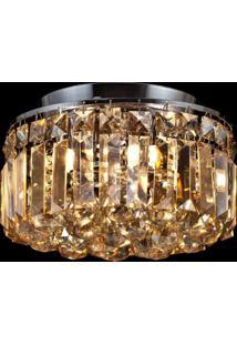Plafon Sobrepor De Cristal Kri 20 Cmx25 Cmxx Bella Iluminação Âmbar