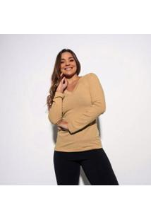 Blusa Bege Gola V Lisa Bl354 - Feminino