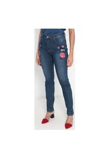 Calça Jeans Feminina Skinny Flor Lateral Doct