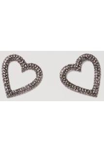 Brinco Coração Cravejado Black Diamond - U