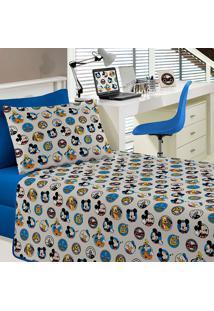 Jogo De Cama Solteiro 03 Peças Amigos Do Mickey - Portallar - Azul