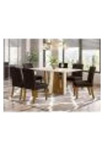 Mesa De Jantar Alfa 160Cm 6 Cadeiras Maris - Nature/Off White/Marrom