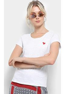 Camiseta Top Moda Bordado Coração Feminina - Feminino-Cinza
