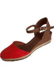 Sandalia Scarpe Anabela Vermelha - Tricae