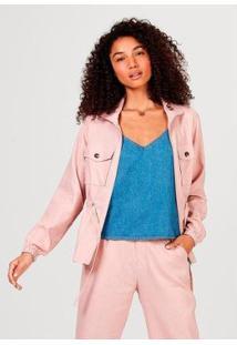 Jaqueta Feminina Em Tecido De Viscose Com Bolso - Feminino-Rosa