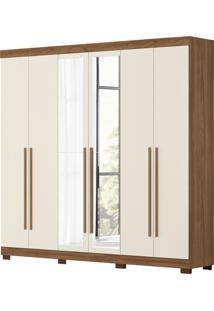 Guarda Roupa De Casal Belem 6 Portas C/ Espelhos Canela/Off White Albatroz - Tricae