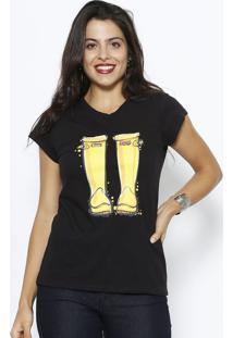 Camiseta Botas- Preta & Amarelaclub Polo Collection
