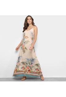 Vestido Longo Mercatto Recorte Floral - Feminino-Areia