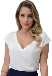 Blusa Mamorena Decote V Bordado Pérolas Branca - Kanui