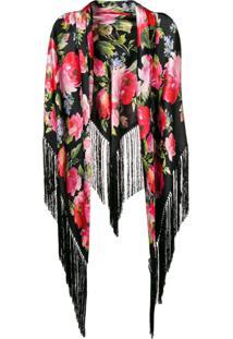 Dolce & Gabbana Xale Com Estampa Floral E Franjas - Preto