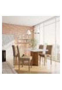 Conjunto De Mesa De Jantar Munique I Com Tampo De Vidro Off White E 4 Cadeiras Grécia Suede Chocolate