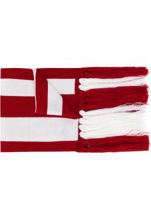Gcds Cachecol Com Logo E Franjas - Branco