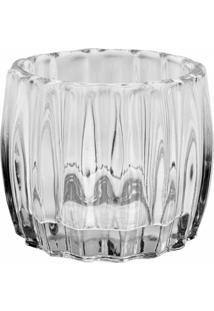Castiçal De Vidro Transparente Decorando Com Classe 7,5Cm