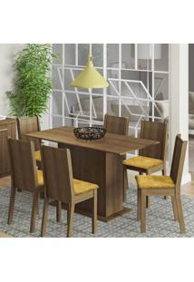 Conjunto De Mesa Com 6 Cadeiras Celeny Rustic Com Tecido Palha