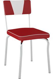 Cadeira Retrô Corino Vermelho C/ Det Branco/Cromado Pozza