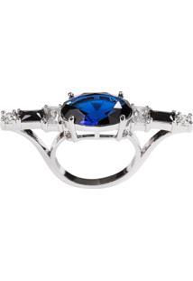 Anel Soco Inglês The Ring Boutique Pedra Cristal Azul Safira Ródio Ouro Branco