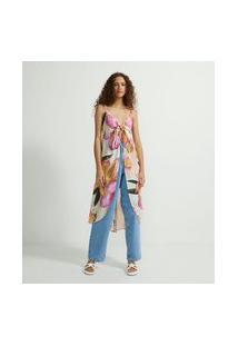 Blusa Alongada Com Abertura Na Frente Floral