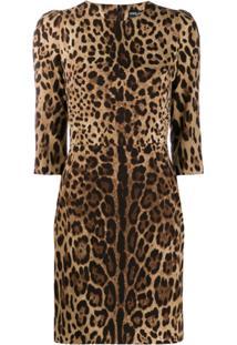 Dolce & Gabbana Vestido Animal Print - Marrom