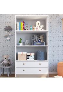 Estante Para Livros 2 Gavetas 2 Prateleiras Branco - Art In Móveis