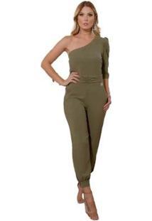 Macacão Miss Misses Ombro Único Militar Feminino - Feminino-Verde Militar