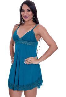 Camisola Estilo Sedutor Em Liganete E Renda Alças Reguláveis Azul