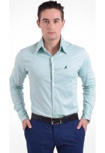 Camisa Social Masculina Super Slim - Masculino-Verde