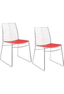 Kit Com 2 Cadeiras Nicole Cromada Couríssimo Vermelho - Carraro