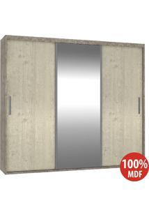 Guarda Roupa 3 Portas C 1 Espelho 100% Mdf 1987E1 Demol/Marfim Areia - Foscarini