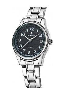 Relógio Feminino Wwoor 8805 - Prata E Preto