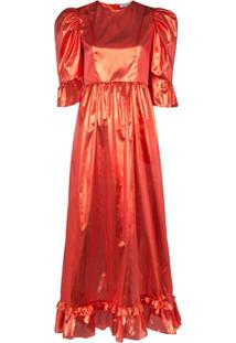 Batsheva Vestido Mangas Bufantes Prairie Metálico - Vermelho