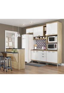 Cozinha Completa Com Bancada E Balcão Sem Tampo 5 Peças 7 Prateleiras Sicília Multimóveis Argila/Branco