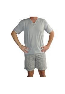 Pijama Masculino Adulto Gola V Manga Curta Shorts Curto Estampado Verão - Cinza