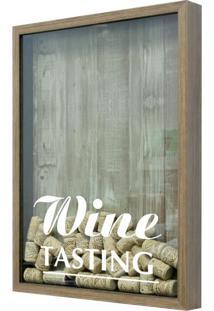 Quadro Porta Rolhas De Vinho Wine Tasting 22X27Cm Natural