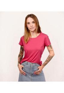 Camiseta Decote Redondo Em Modal Cora Básico Feminina - Feminino-Rosa
